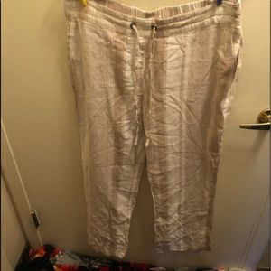 Brand new light tan and cream flowy pants